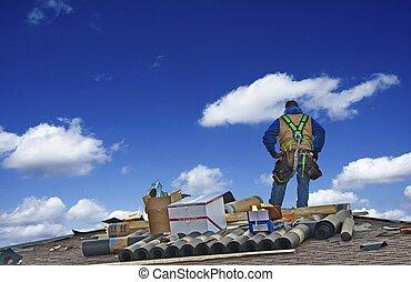 construção, roofer, trabalhador