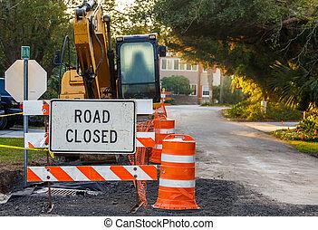 construção, rua, estrada fechou sinal