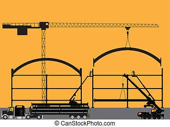 construção, silueta, local