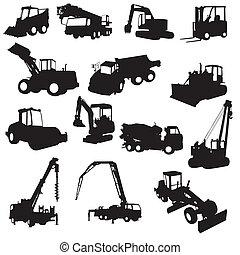construção, silueta, máquinas