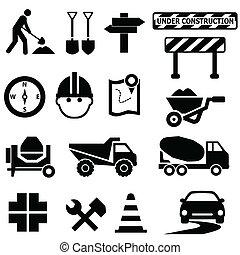 construção, sinais estrada