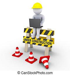 construção, sinal, e, um, trabalhador, com, laptop