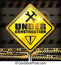 construção, sinal, rhombus