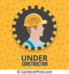 construção, sob, cartaz