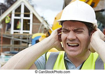 construção, sofrimento, de, poluição barulho, ligado, local edifício