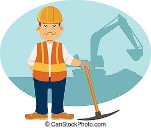 construção, sorrindo, trabalhador