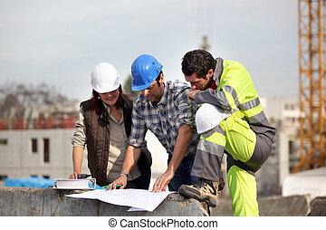 construção, supervisores, resolvendo problema