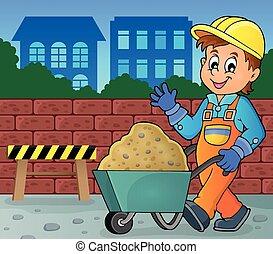 construção, tema, 2, trabalhador, imagem