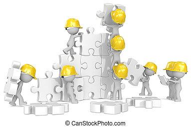 construção, time.