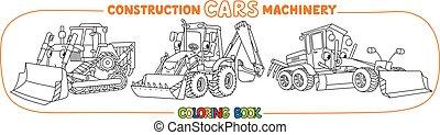 construção, tinja livro, transporte, maquinaria