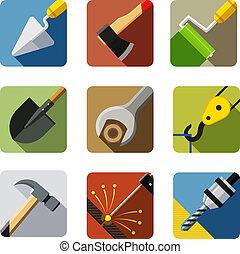 construção, tools., jogo, de, vetorial, ícones