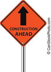 construção, tráfego, à frente, sinal