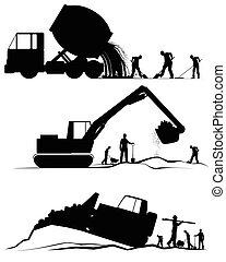 construção, três, cenas