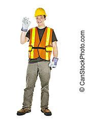 construção, trabalhador, Feliz