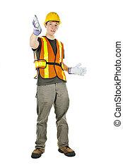 construção, trabalhador, Gesticule