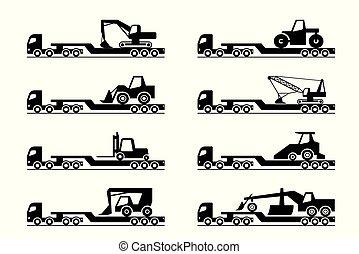 construção, transporte, maquinaria