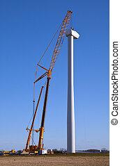 construção, turbina, vento