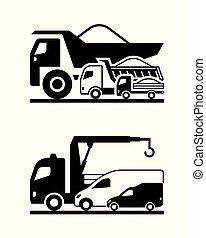 construção, vário, caminhões