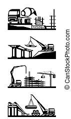construção, vário, cenas