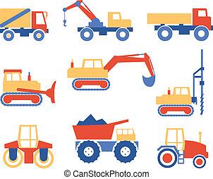 construção, vário, maquinaria, caminhões, gráficos