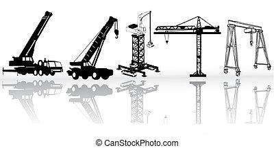 construção, vetorial, -, cobrança, veículos