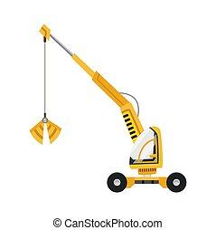construção, vetorial, excavator., equipment., isolado, amarela, experiência., branca, especiais, illustration., machinery.