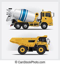construção, vetorial, ilustração, veículos