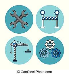 construção, vetorial, jogo, ilustração, ícones