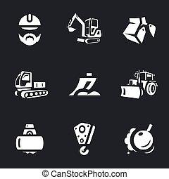 construção, vetorial, jogo, maquinaria, icons.