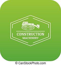 construção, vetorial, verde, maquinaria, ícone