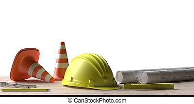 construção, workplace., projeto, desenhos técnicos, arquiteta, ilustração, engenharia, madeira, ferramentas, 3d, desk.