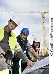 construção, workteam, local
