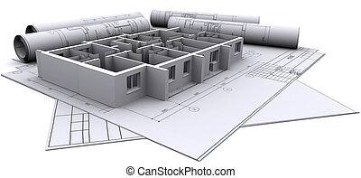 construído, paredes, de, um, casa, ligado, construção, desenhos