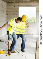 construcción, accidente