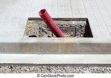 construcción, aceras, farolas