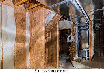 construcción, aislamiento, casa, paredes, sitio, sótano, termal