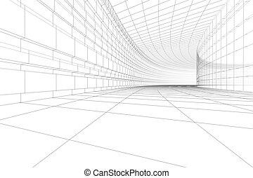 construcción, arquitectónico, 3d