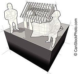 construcción, arquitecto, debajo, casa, diagrama, cliente