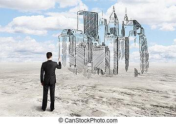 construcción, arquitecto, dibujo