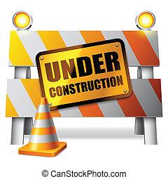 construcción, barrier., debajo