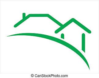 construcción, bienes raíces, icono
