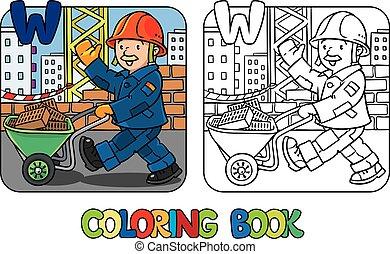 construcción, book., trabajador, alfabeto, w, colorido
