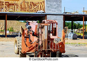 construcción, camión, residencial, nuevo, encuadrado, madera, edificio, auge, hogar, carretilla elevadora, marco
