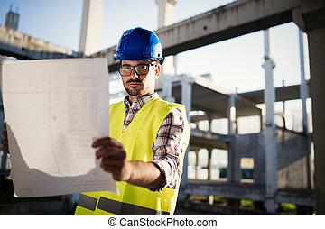 construcción, capataz, en el empleo, sitio