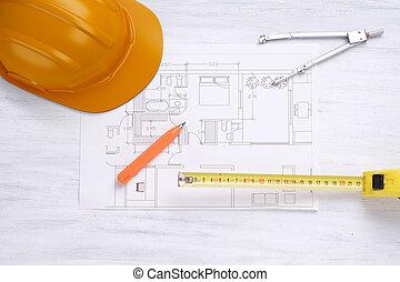 construcción, casco, casa, plan, y, tools.