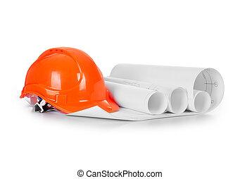 construcción, casco, con, dibujos, blanco