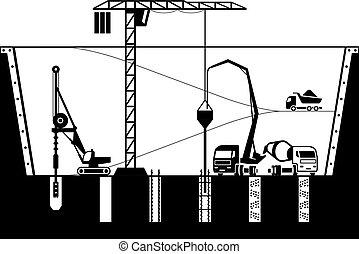 construcción, cimientos, edificio