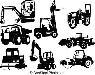 construcción, colección, máquinas