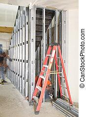 construcción, comercial, escalera, espacio
