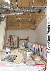 construcción, comercial, renovación, espacio